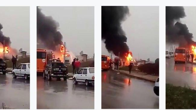 Adana'da işçileri taşıyan servis alev alev yandı