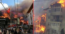 Artvin'in Yusufeli ilçesinde feci yangın! 60'a yakın eve sıçrayan yangın kontrol altına alındı